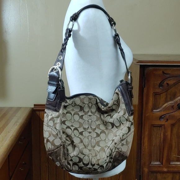 Coach Handbags - Coach Signature Canvas Hobo Brown Shoulder Bag